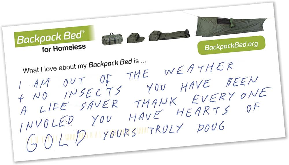 Backpack Bed for Homeless thank you postcard